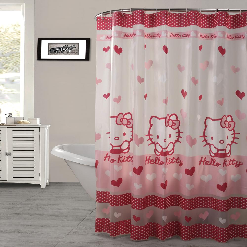 2019 Wholesale PEAV Semitransparent Waterproof Pink Colour Kitty Shower Curtain Thicken Curtains 180 Cm From Asite 2068