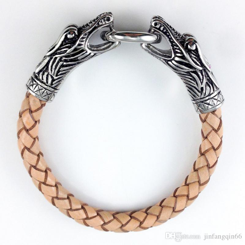 Men's Jewelry Dragon Head Style Titanium Stainless Steel Genuine Leather Bracelets Bangles With Latch Catch Cuff Braided Wrap 4 Colours