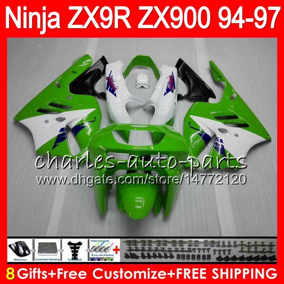 8Geschenke 23Farben für KAWASAKI NINJA ZX900 ZX9R 94 95 96 97 900CC 49HM13 grün weiß ZX-9R ZX900C ZX 9 R ZX 9R 1994 1995 1996 1997 Verkleidungssatz