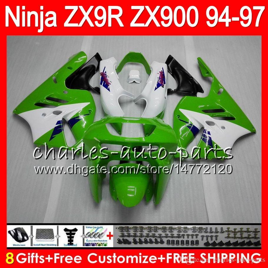 8Gifts For KAWASAKI NINJA ZX900 ZX9R 94 95 96 97 900CC 49HM13 녹색 흰색 ZX-9R ZX900C ZX 9 R ZX 9R 1994 1995 1996 1997 페어링 키트