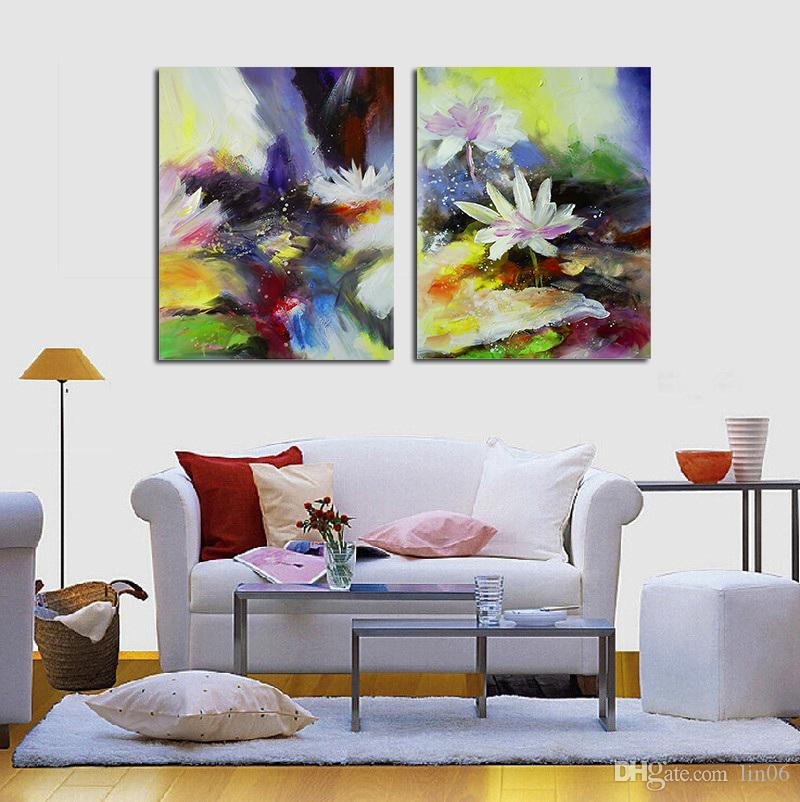 High Quality 2017 Free Ship 2 Panel Modern Lotus Flower Canvas Painting Picture Abstract  Printed Living Room Wall Sticker No Frame From Lin06, $14.08 | Dhgate.Com Part 18