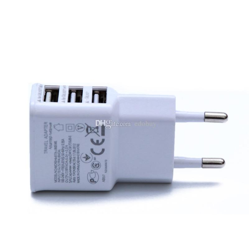 Universal 2A 3 Ports USB EU Wall Charger Adapter 3USB for Samsung for iPhone for HTC MOTO Perfect