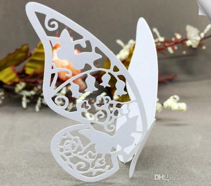 Laser Cut Butterfly Wedding Decorations Table Name Card Wine Glass Cards wedding Favors Supplies Place Card