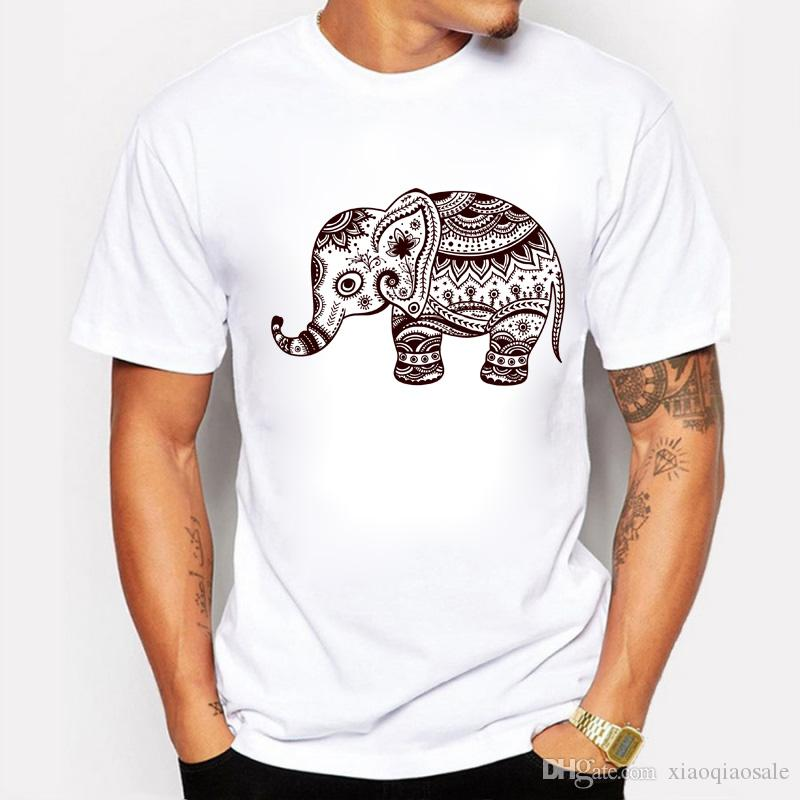 Homens T-shirt Estilo Verão Homem Encabeça Elephant Animal Dos Desenhos Animados Imprimir Manga Curta Chinês Nacional Vento Padrão Camiseta Masculina Branco
