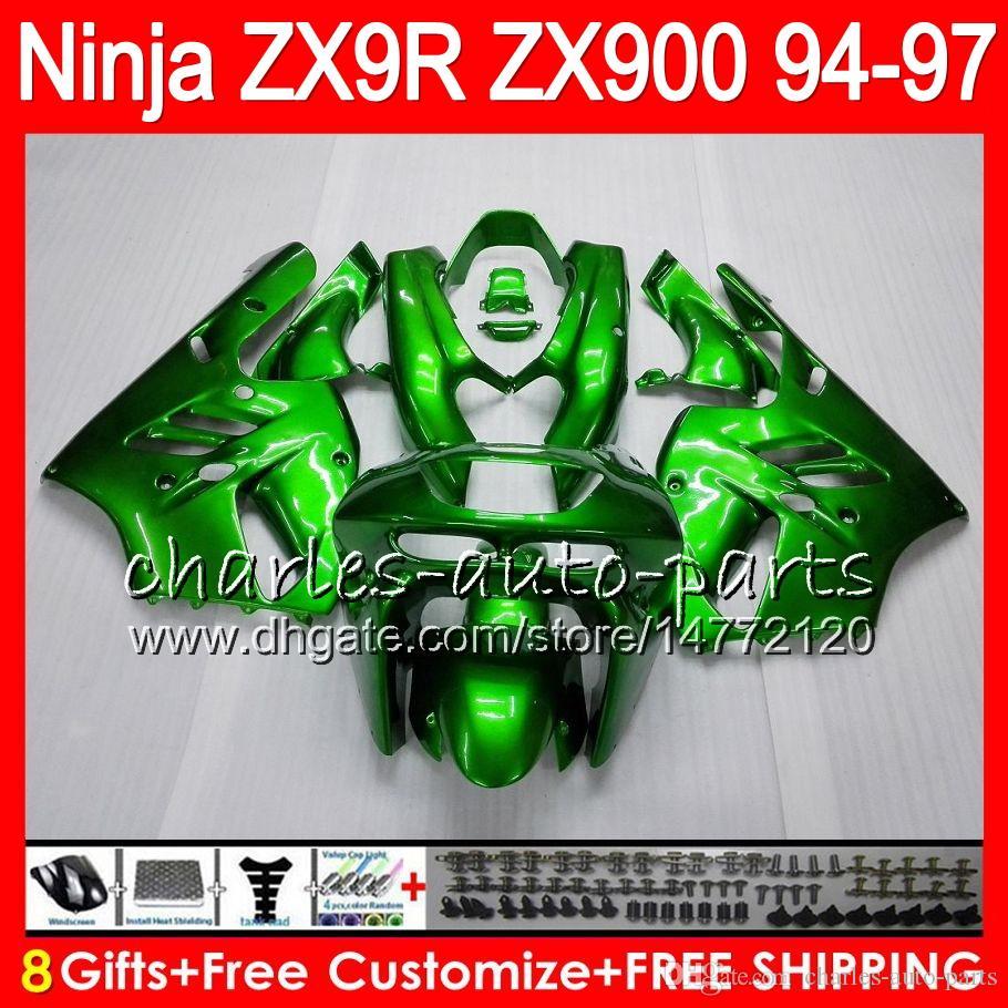 8Regalos es para KAWASAKI NINJA ZX900 ZX9R 94 95 96 97 900CC 49HM16 verde brillante ZX-9R ZX900C ZX 9 R ZX 9R 1994 1995 1996 1997 Kit de carenado