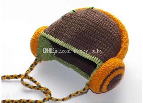 Crochet Knitted Headphone Design Caps Newborn Infant Toddler Kids Baby Boys Girls Animal Hat Winter Halloween Children Headset Beanie Cotton