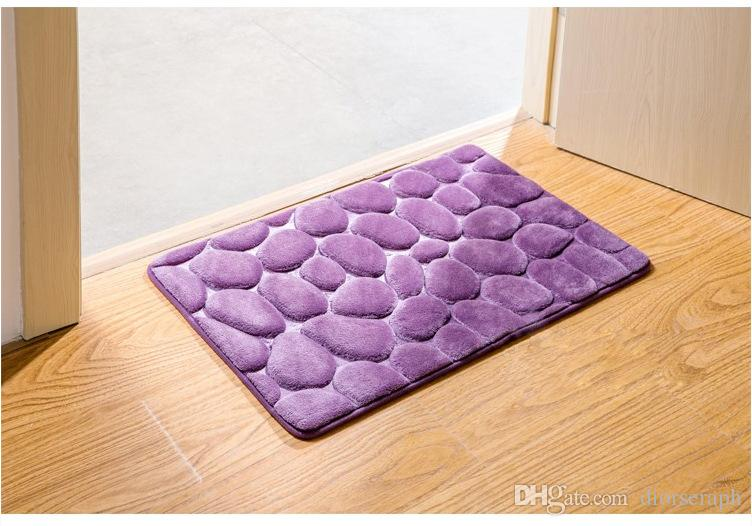 39.5x59.3cm 3D Pebbles Door Mat Coral Fleece Floor Carpet Anti Slip Kitchen Carpets Absorbent Bathroom Rugs Living Room Doormats