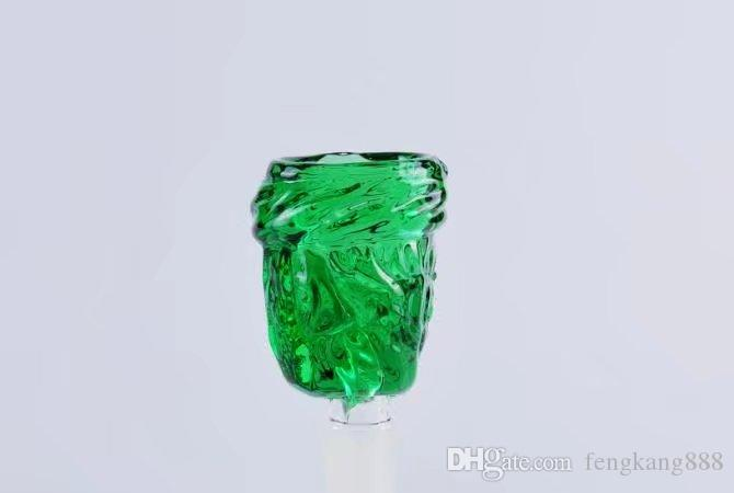 Green frosted bubble glass bongs accessories , Glass Smoking Pipes colorful mini multi-colors Hand Pipes Best Spoon glas