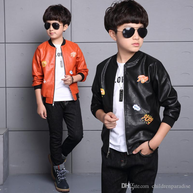 f48068fcc Boys Jackets 2017 New Fashion Autumn Baby Boy Clothes Casual Kids PU ...