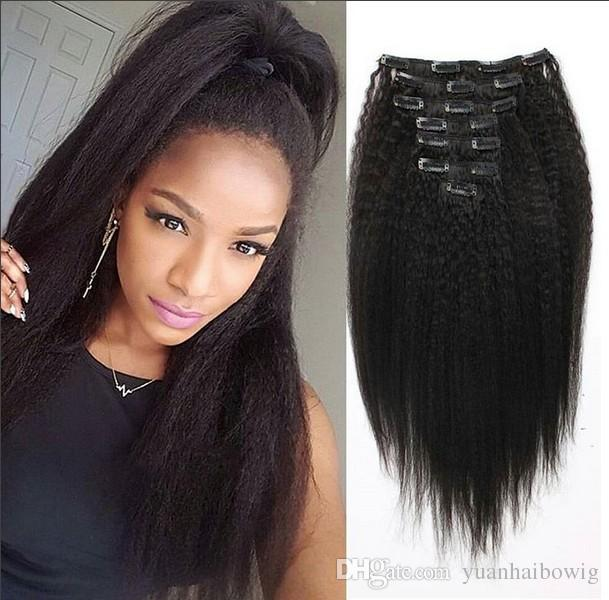 Top Grade Kinky Straight Clip In Hair Extensions Pack Top Quality