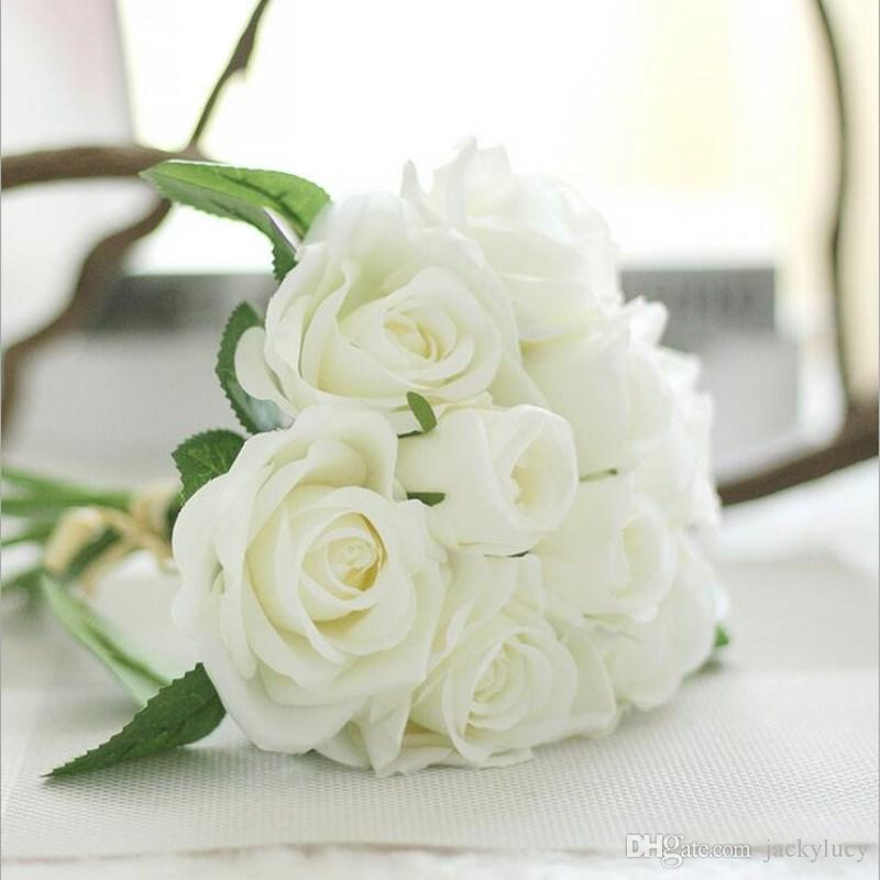 Elegant Milk White Artificial Silk Rose Fake Flower Craft Home Ornament Wedding Bridal Bouquet Many Colors Free Shipping