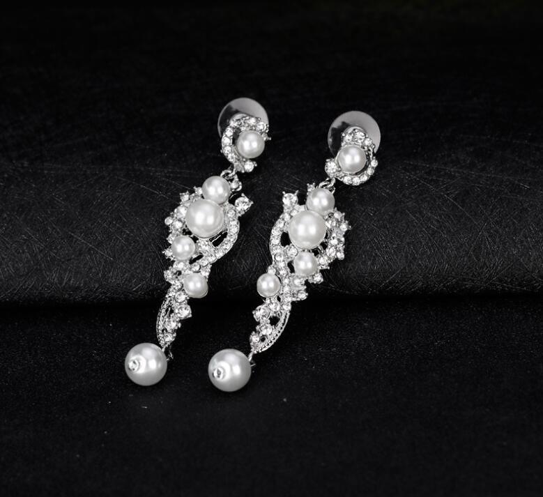 Luxury Synthetic Pearl Long Earrings Crystal Plant Silver Color Dangle Drop Earrings for Women Wedding Jewelry
