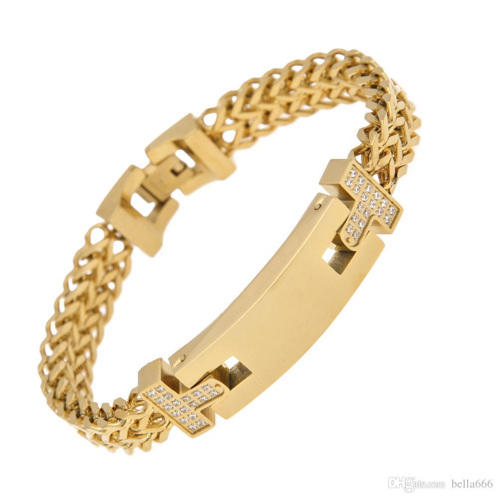 Moda uomo acciaio inossidabile cnc cubic zirconia chiglia braccialetto a catena di alta qualità hiphop doppio strato braccialetti in oro argento colore rapper gioielli