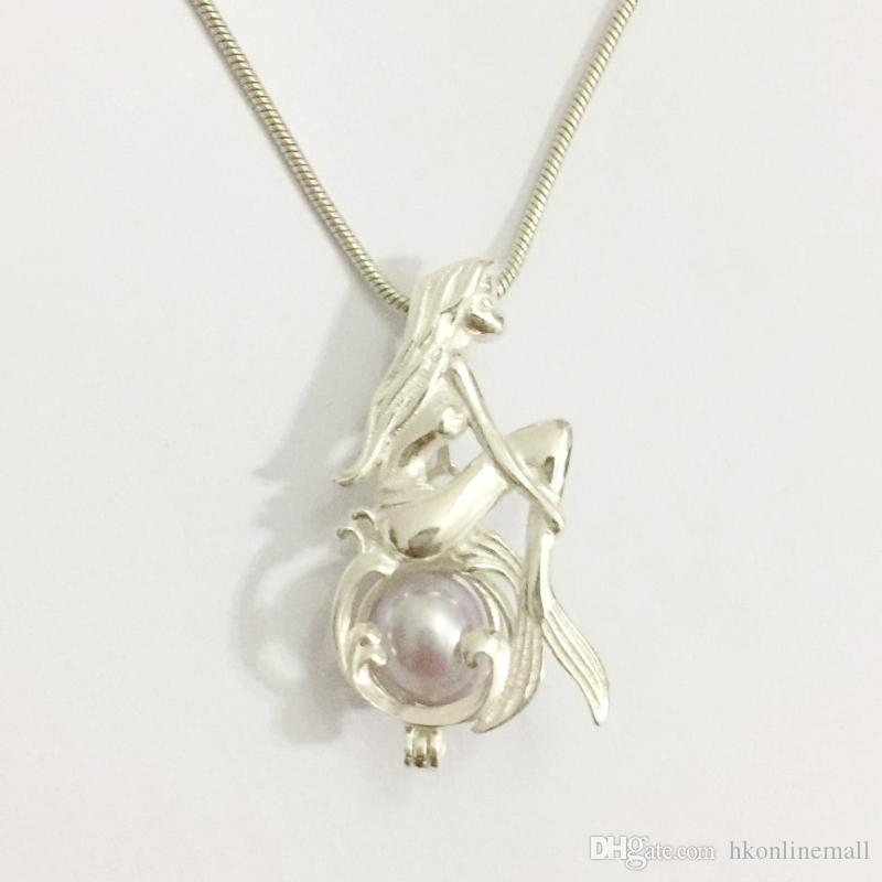 925 Silver Wish Bead Pendant Locket/ Can Open Mermaid Girl Cage