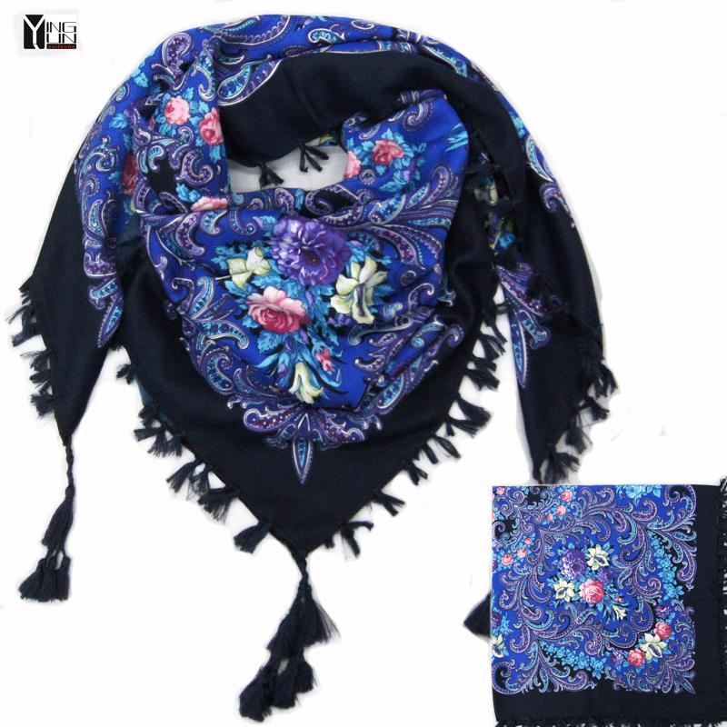 4b9bd974deaa 2017 Hot Sale New Fashion Woman Scarf Square Scarves Short Tassel Floral  Printed Women Wraps Winter Lady Shawls 03 Head Scarf Styles Crochet Scarves  From ...