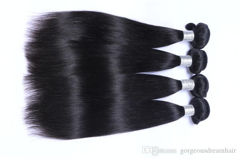 Toptan Ucuz Brezilyalı İnsan Saç Atkı Hint Malezya Perulu Saç Uzantıları 3 adet Çift Atkı Düz Paketler Brezilyalı Saç Demetleri