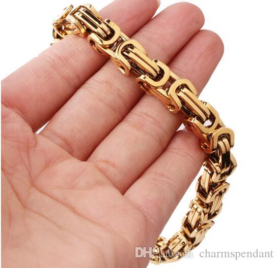 Large Gold Plated Stainless Steel Cool Biker Square byzantine Chain Necklace 8mm 24'' Heavy huge jewelry for men's holidy gifts
