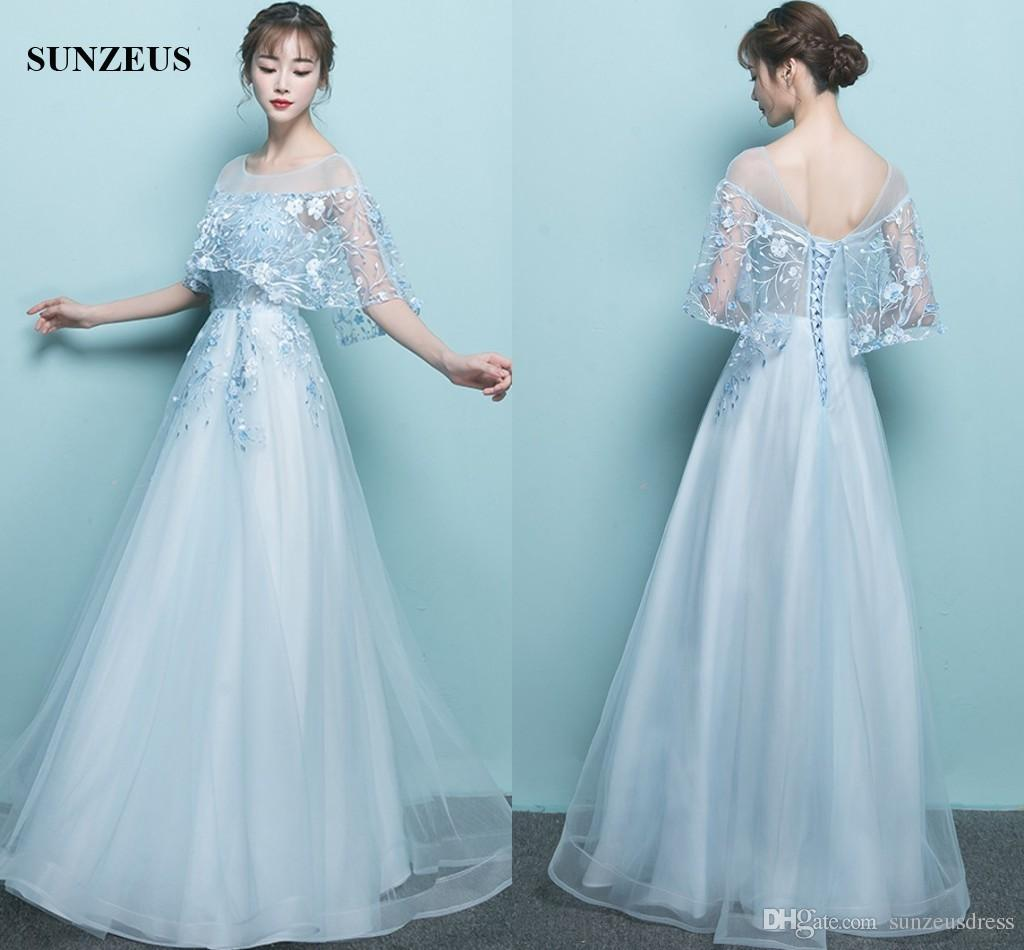2017 New Long Dress With Lace Cape Sexy See Though Corset Blue Tulle ...