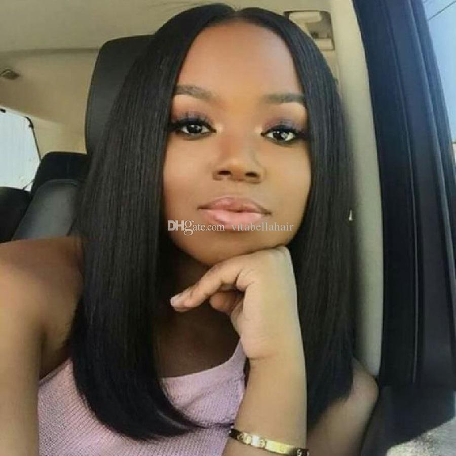 Full Lace Human Hair Wigs Straight Glueless Middle Part