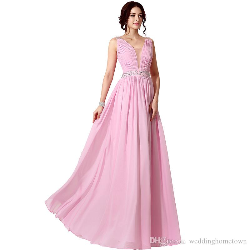 Compre Simple Gasa Con Cuello En V Una Línea Plisada Prom Vestidos ...