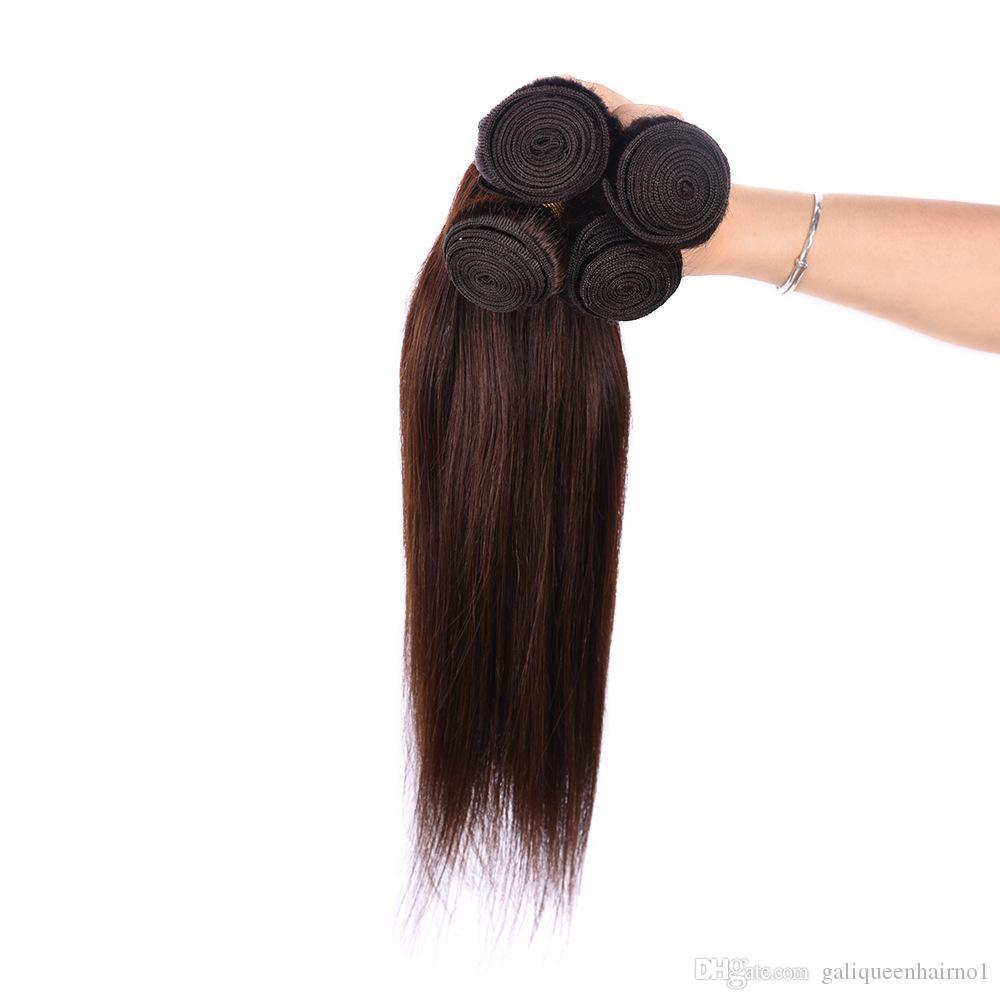 브라질 스트레이트 인간의 머리카락 처리되지 않은 레미 헤어 익스텐션 밝은 갈색 4 # 색상 100g / PC는 염색 할 수 없습니다.