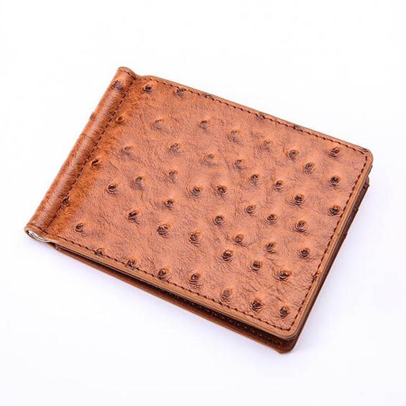 659cc0ba63 Acquista Sottile Pelle Di Struzzo Portafoglio Fermasoldi Da Uomo Con 4  Tasche Porta Fermaglio In Metallo A $7.25 Dal Bags_wallets | DHgate.Com