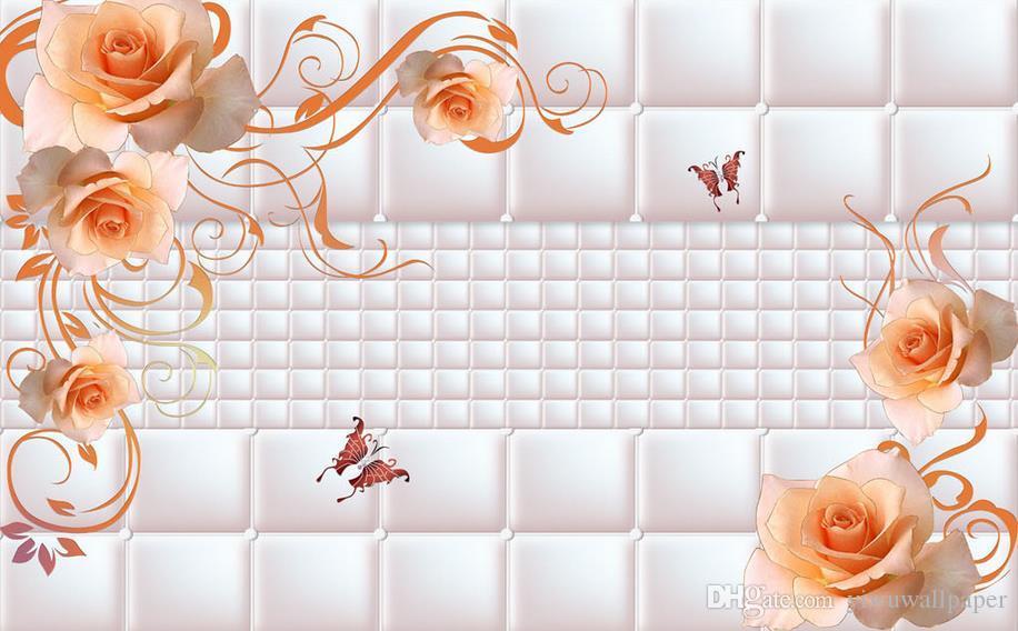 Foto Fertigen Sie Tapetenhintergrundwandwand-Rosafarbenes Musterwandbild 3d Tapete 3d des Wallpapers der Größe 3D für Fernsehhintergrund besonders an