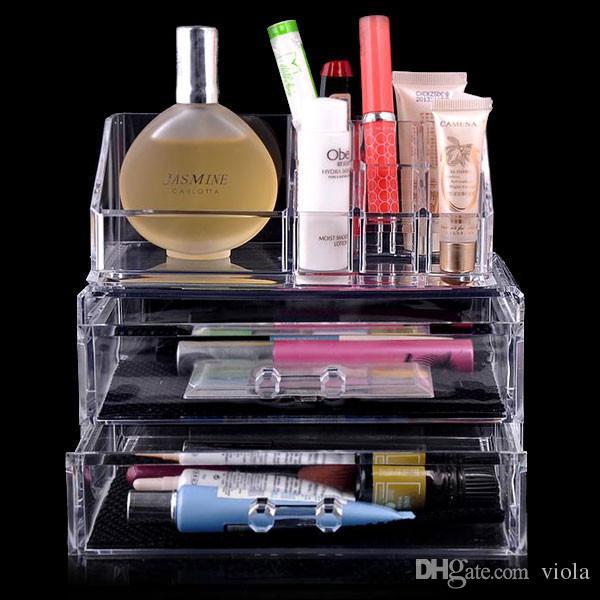 2017 Haute Qualité Effacer Acrylique Cosmétique Bijoux Organisateur Boîte De Maquillage Cas Boîte De Maquillage Cas SF-1063