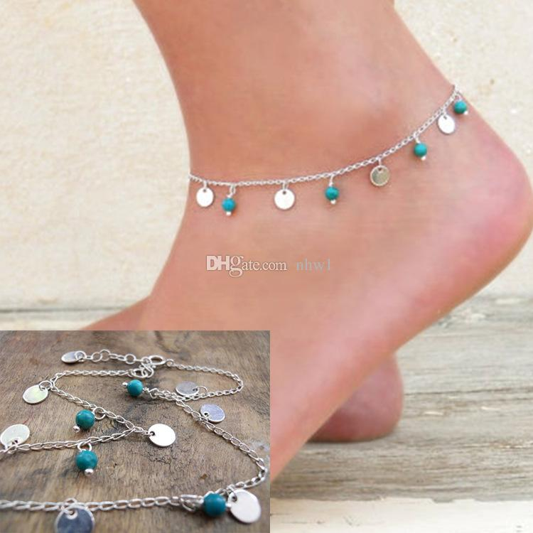 Fashion Silver Chain Turquoise Anklet Layering Blue Turquoise Bohemia Anklet For Women Ladies Girls Sexy Anklet