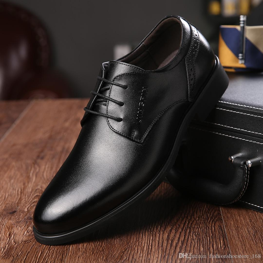 19486ccdeae3 Mens Italian Genuine Leather Dress Shoes Luxury Brand Formal Male Shoes  Slip On Business Men Mocassins Shoes Oxfords Penny Loafers Wedges Shoes  From ...