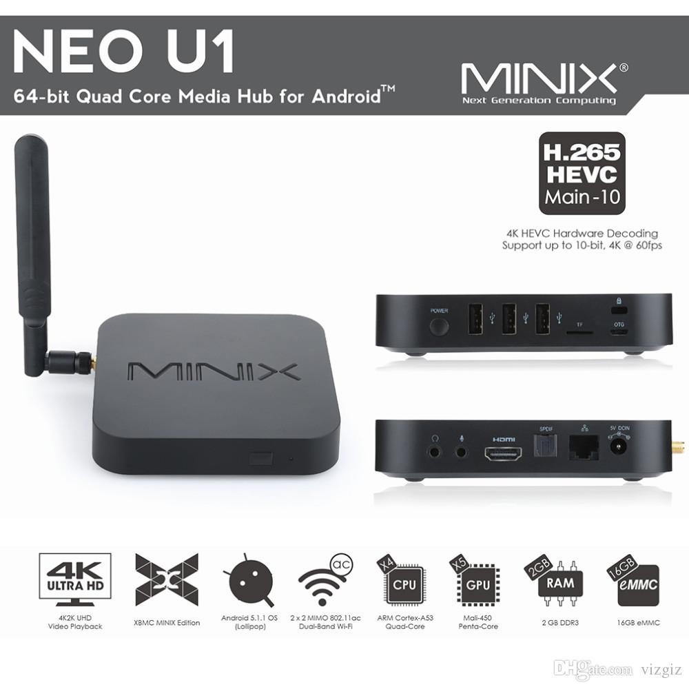 2Ghz NEO U1 HDMI 2.0 4K 60fps 64-bit 802.11ac Wifi Quad Core Media Hub for Android Set Top TV Box Bluetooth 4.1 Minix