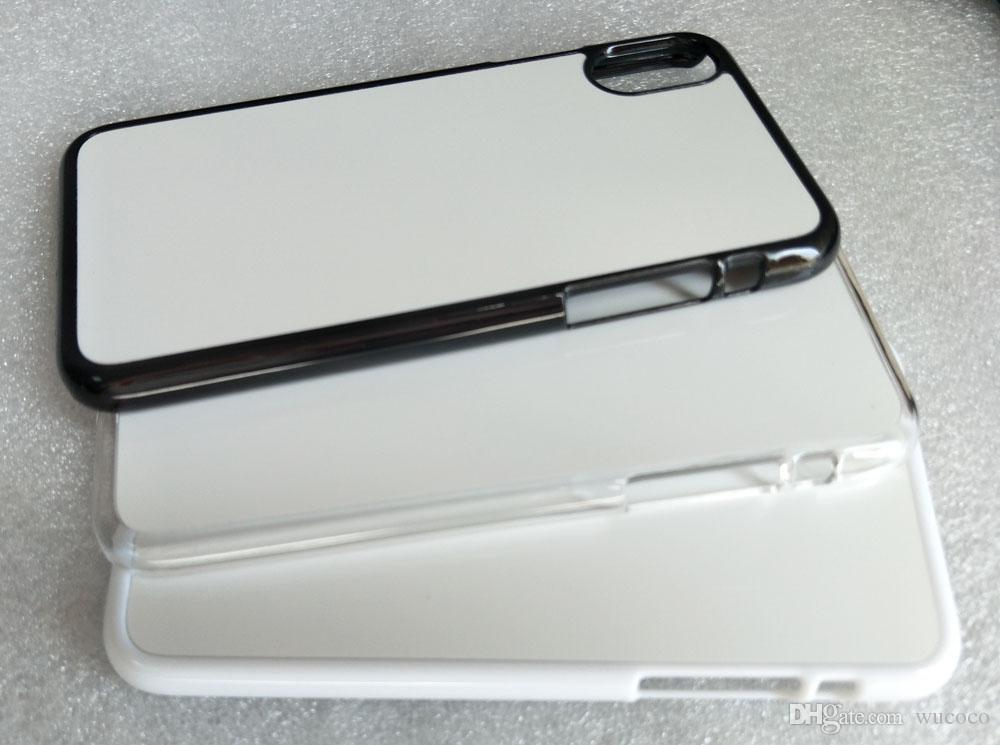 Dla iPhone 11 Pro Max X XS Max XR 5 6 7 8 Plus 2D Hard PC Case + Biała płyta aluminiowa 100 sztuk Darmowa Wysyłka