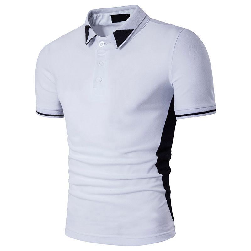 Черный белый Poloshirts для мужские топы мода поло футболки 2017 Новое прибытие Марка футболка лето поп с коротким рукавом одежда Оптовая