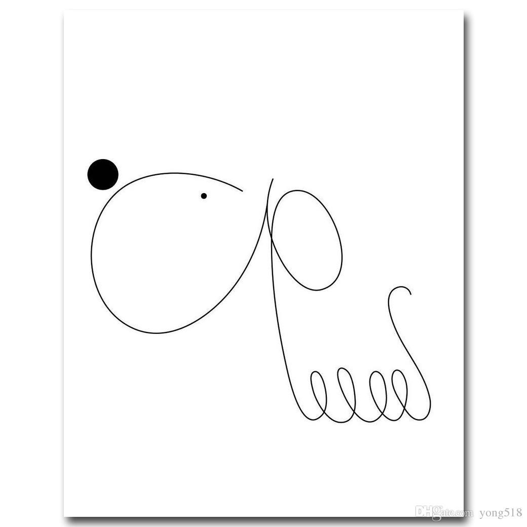 Livraison gratuite Chien Kawaii Minimalisme Art Toile Affiche Peinture Abstraite Simple Mur Photo Imprimer Moderne Maison Salon Décoration