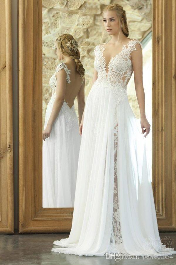 Discount Emanuel Wedding Dresses Lace Illusion Back Deep V Neck 2017 Cap Sleeves Beach Bridal Gowns Long Sweep Train Boho Vestidos De Novia