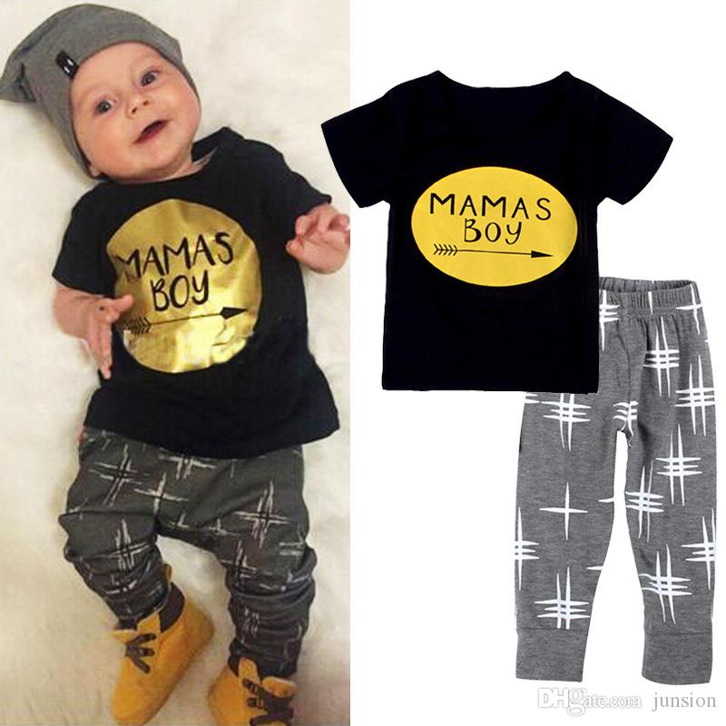 New Arrival Ins Baby Boys Girls Letter Sets Top T-shirt+Pants Kids Toddler Infant Casual Printed Short Sleeve T-shirt +Pants 2pcs Leggings