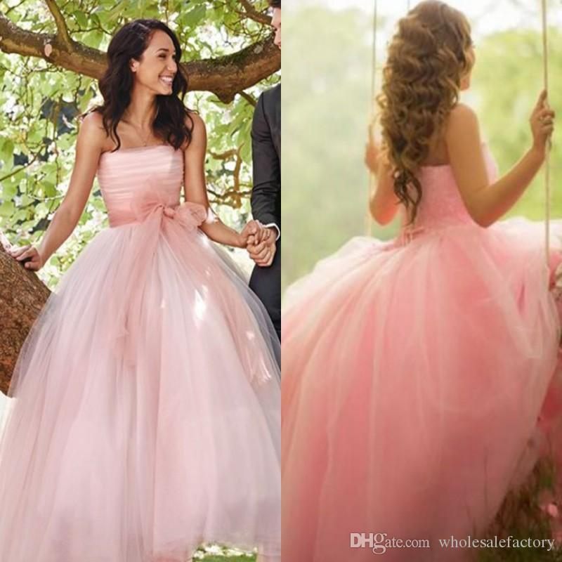 Discount Fantasy Dusty Pink Long Wedding Dresses Princess Middle East  Arabic Women Party Dresses With Bow Sash Summer Garden Bridal Gowns Lace  Bridal ... 0a943612b734