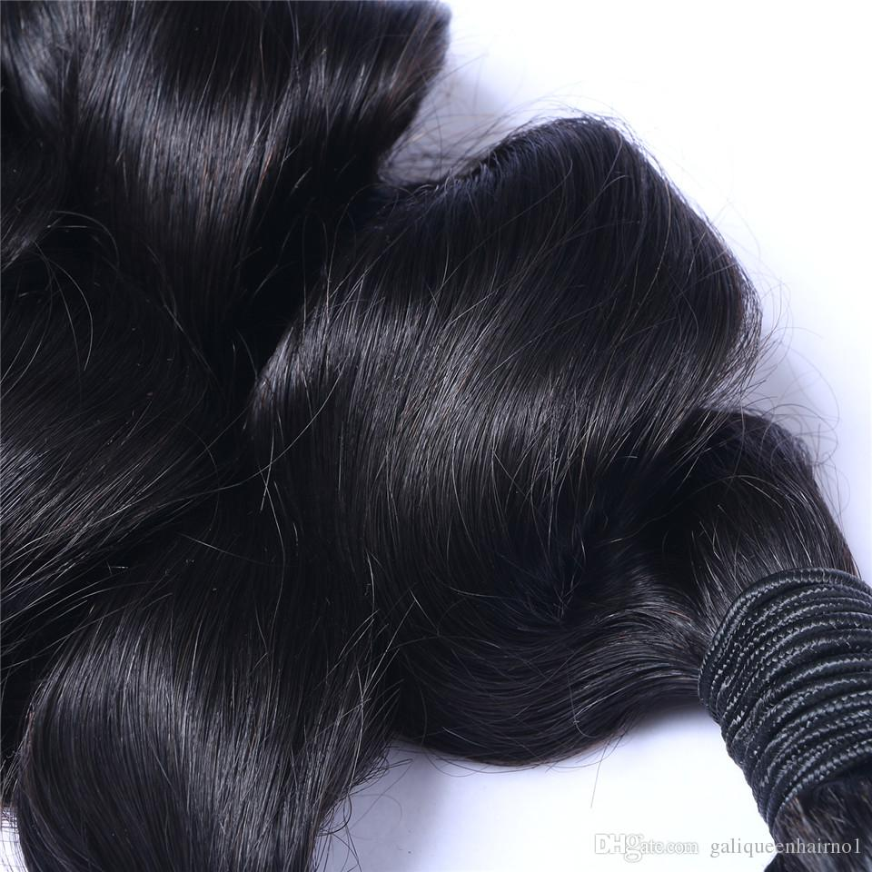 Unprocessed Brazilian Human Remy Virgin Hair Loose Wave Hair Weaves Hair Extensions Natural Color 100g/bundle Double Wefts 3Bundles