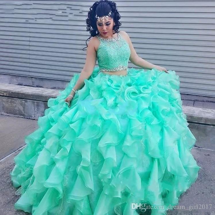 Vestidos Comunhão Duas Peças De Renda Turquesa Vestidos Quinceanera Com Cristal Frisado Organza Vestidos De Baile Doce 16 Vestidos De Espartilho