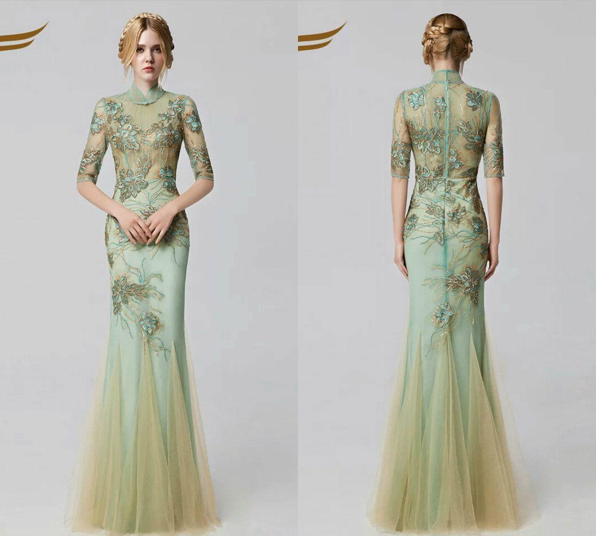 Half Long Sleeves High Neck Prom Dresses Cheongsam Lace Applique ...