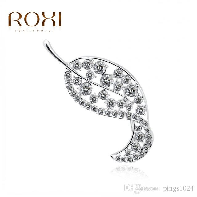 ROXI Fashion Flower Brooch With Austrian Crystal Fashion Jewelry White Gold Plated Leaf Shape For New Year Christmas Gift