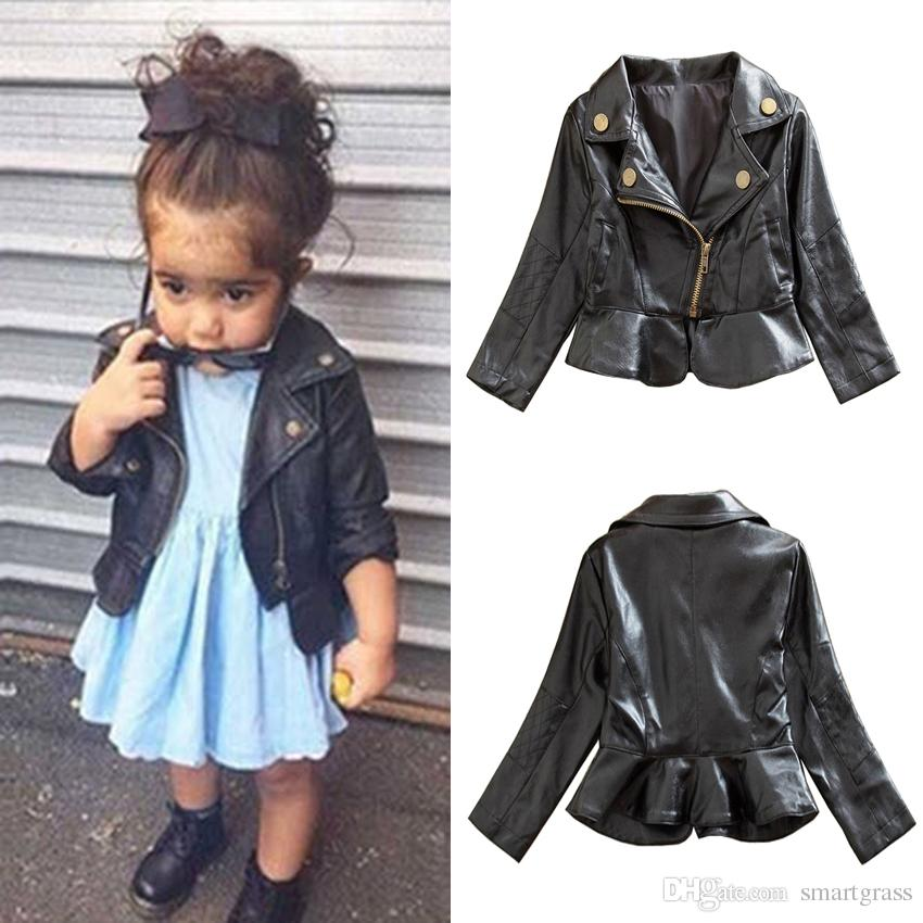 Leather Baby Jackets Coats Autumn Black Girls Zipper Jackets ...