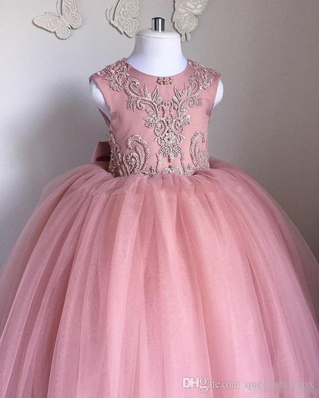 Blush Pink Toddler Pageant Dresses Sleeveless Pleats Tulle Ball Gown Lace Graduation Gowns Children Floor Length Open Back Flower Girl Dress