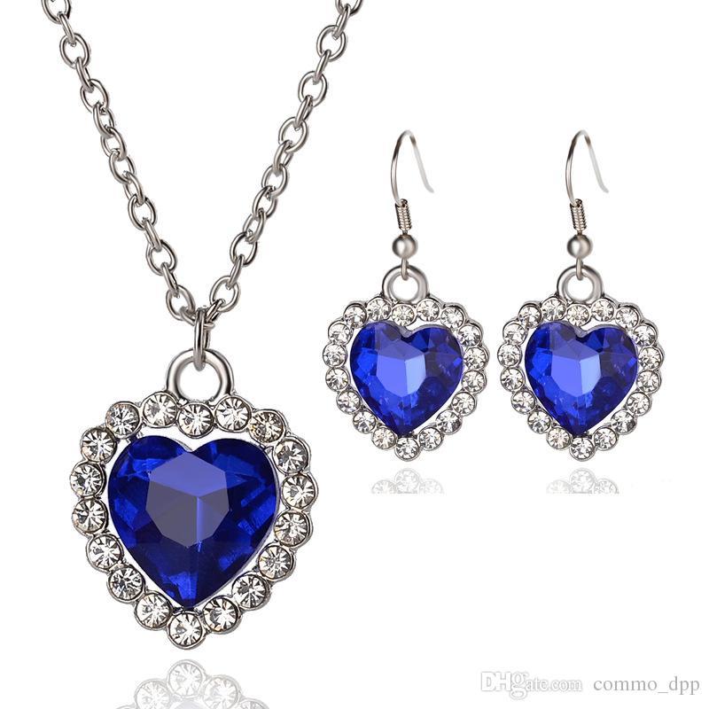 a0ec8f050ec7 Compre Cristal Austriaco Heart Of Ocean Jewelry Sets Piedras Preciosas De  Pedrería Azul Collares Y Pendientes Set Para Womenladies Accesorios De Moda  A ...