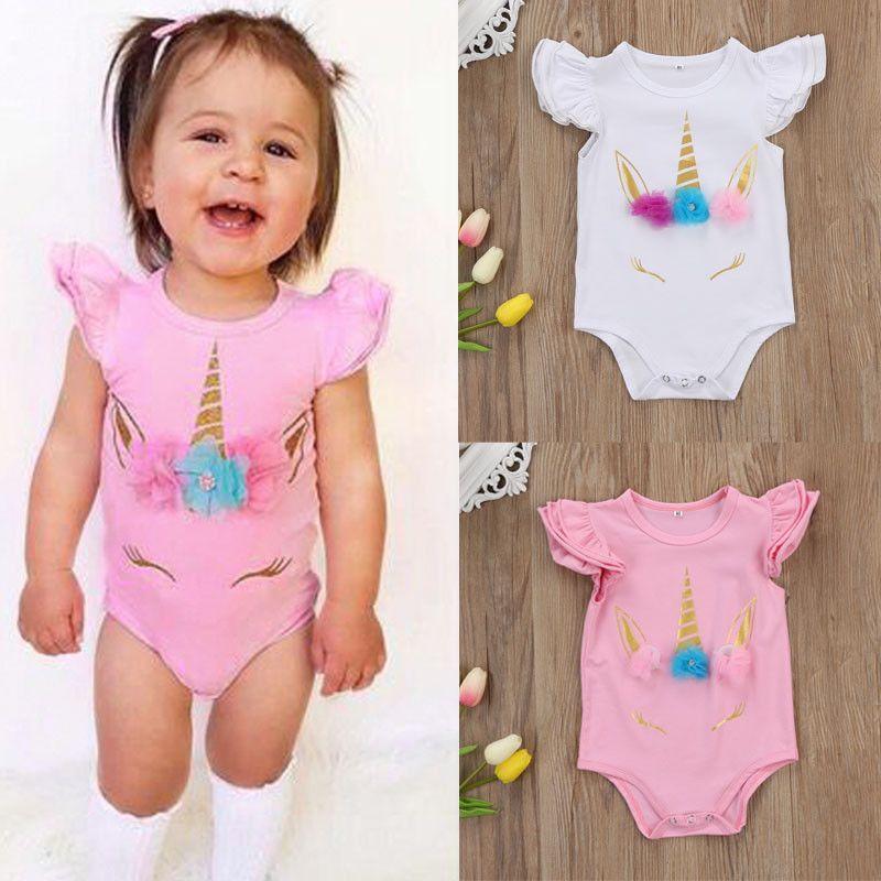 Unicorn-Babyspielanzug Baumwolle Kind Overall Kleidung rosa weiß lange kurze Ärmel Bodysuit Rüschehülse nette Mädchen Kleinkindspielanzug Anzüge