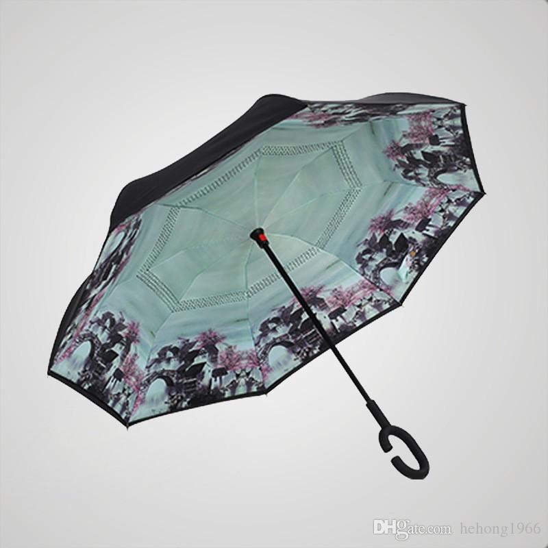 Double Layer Reverse Umbrella The Straight Rod Inversion Car Advertisement Windproof And Rainproof Everted Parachute Umbrellas 35 kk R