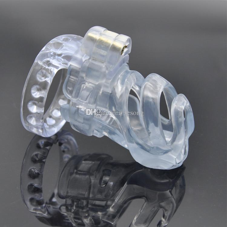 chastity devices cock cages penis restraint new 3D design plastic CB resin lock with Anti-off ring