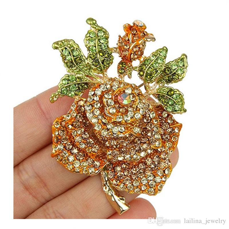 Kristal Sevgililer Hediye Gül Çiçek Yaprak Broş Pin