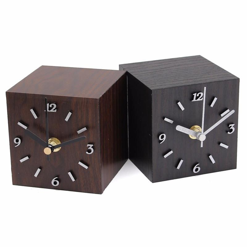 2019 Wholesale New Wood Black Brown Retro Vintage Wooden Cube Clock