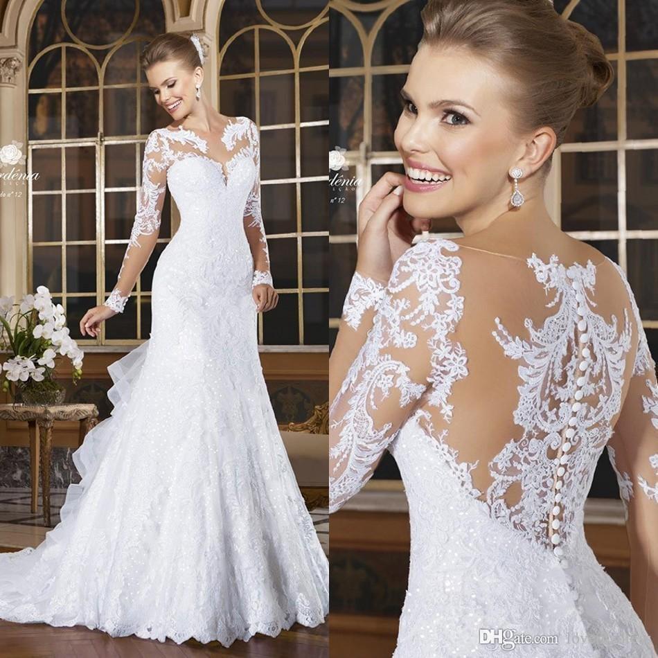 Senaste eleganta spetsklänningar bröllopskede applique casual täckt knapp långärmad bröllopsklänningar domstol tåg brudklänningar